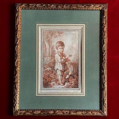 Jean-françois Clermont (1717-1807), Grande Gravure XVIIIe, Demarteau, Enfant, Baguette Bérain