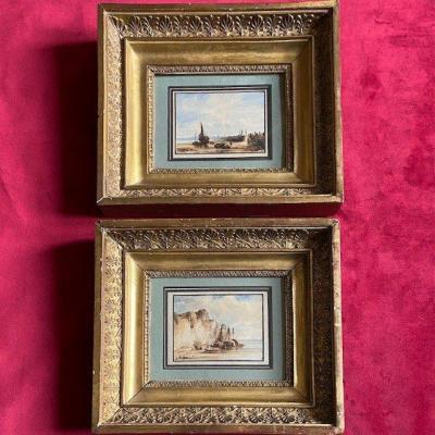Etienne Raffort (1802 - 1895), Paire d'Aquarelles, Paysages Marins, Cadres  à Palmettes Empire