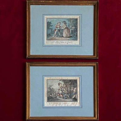Jean-baptiste Huet (1745 - 1811), Paire De Gravures Fin XVIIIe, Jeux d'Enfants, Bel Encadrement