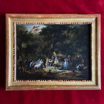 Attributed To Nicolas Taunay (1754-1826), Oil On Canvas, Picnic Scene, Beautiful Old Frame