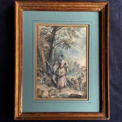Attr. à Jean-Baptiste Lallemand (1710-1803), Scène Pastorale, école XVIIIe, Dessin Et Gravure