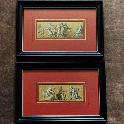 Attr. à  Louis LAFITTE (1770- 1828) , Paire De Dessins, Allégories De La Danse Et De La Musique