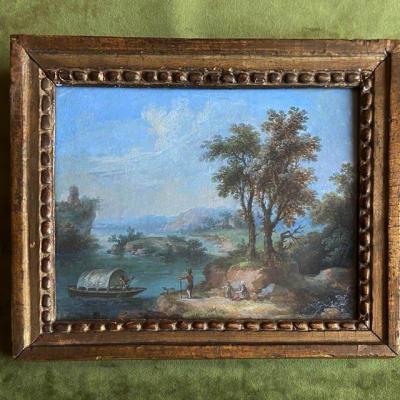 Ecole Française  Du XVIIIe , Paysage Animé, Gouache, Cadre Doré à Perles Ancien Du XVIIIe