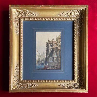 Théodore Henri Mansson (1811-1850), Lavandières Au Chevet d'Une église, Rouen, Aquarelle Signée