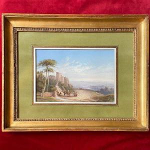 Paul Pascal (1832-1905), Animated Italian Landscape, Gouache Signed, Dated