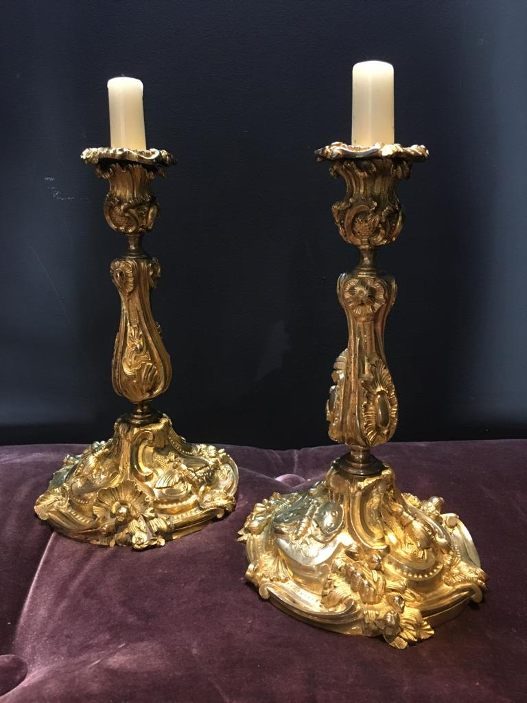 Pair Of Candlesticks 19th Insects
