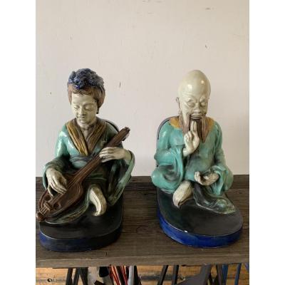 2 Magots En Ceramique De Emile Muller , Paris