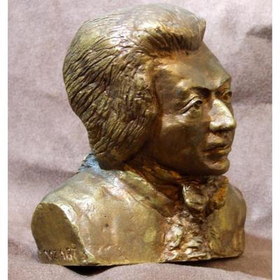 Wolfgang Amadeus Mozart Sculpture Bronze Dore Compositeur Musicien Vienne Marie Rouget Clayette