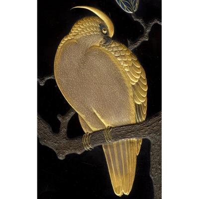 Ancien Laque du Japon Inro Oiseau Rapace Faucon Arbre Maki-e Zohiko Hikobei Urushi Col Aoyama