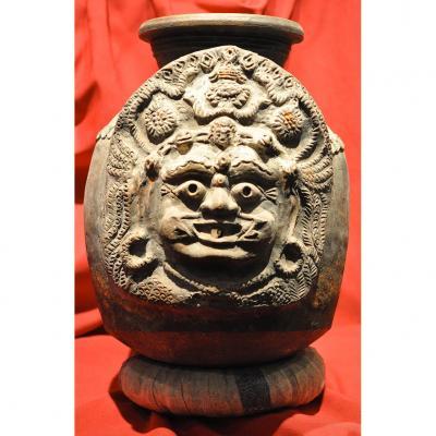 Jarre Sculpture Votive Anthropomorphe Masque De Mahakala A 5 Klesas Himalaya Nepal Tibet