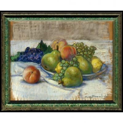 Harry Bloomfield Londres Impressionniste Nature Morte Fruits Raisins Peche Poire Citron Renoir