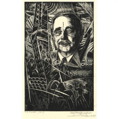 Stefan Mrozewski Polonais Portrait H G Wells Auteur De La Guerre Des Mondes Exposition De 1936