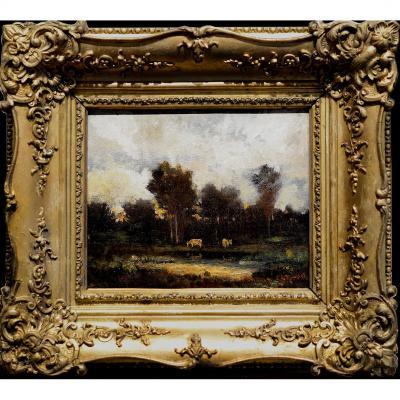 Theodore Rousseau Barbizon 2 Vaches Au Bord de l Eau Fontainebleau Auberge Ganne Camille Corot