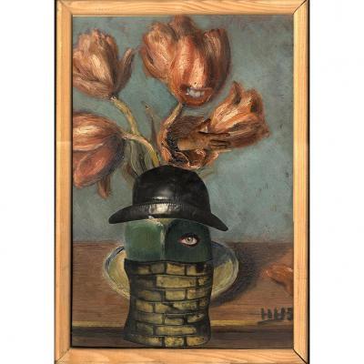 Georges Hugnet Peinture Detournee Collage Dada Surrealiste Personnage Chapeau Melon Et Hydre
