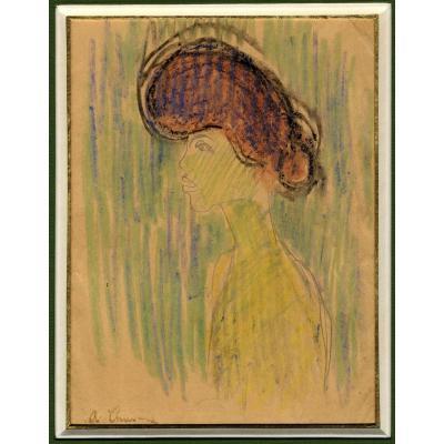 Auguste Chabaud Provencal Portrait Yvette Prostituee Femme Au Chignon Fauve 1906 Cata Raisonne