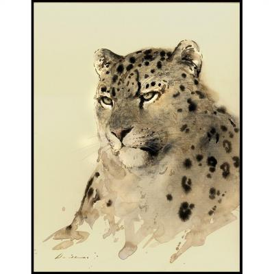 Liang Zhaoxi aussi David Leung Siu Hay Peintre Animalier Chinois Panthere Des Neiges Bertholle