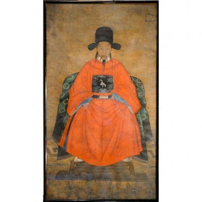 Portrait Ancetre Chinois Coreen 17e Mandarin Empereur Magistrat Joseon Armoirie Grue Tete Rouge