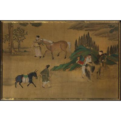 Zhao Mengfu Tchao Meng Fu Peinture Chinoise Paysage Aux Chevaux Yuan Song Academie Hanlin