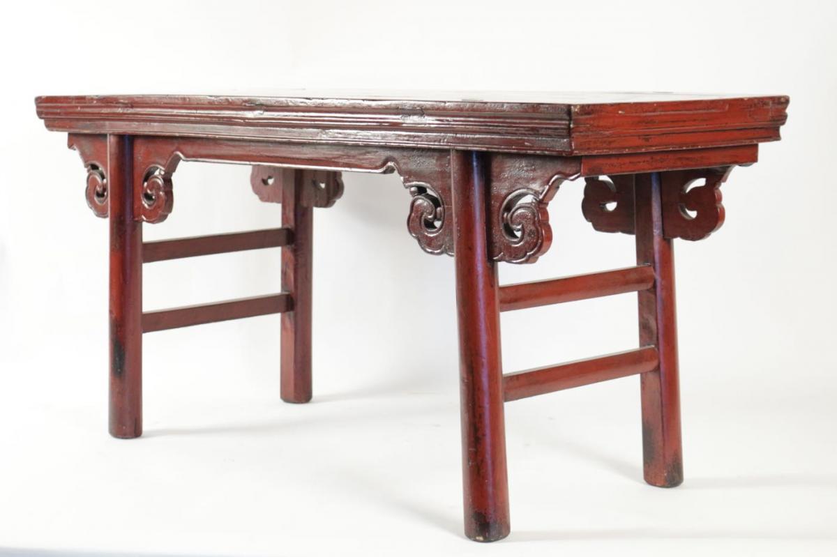 Banc chinois en bois exotique laqué