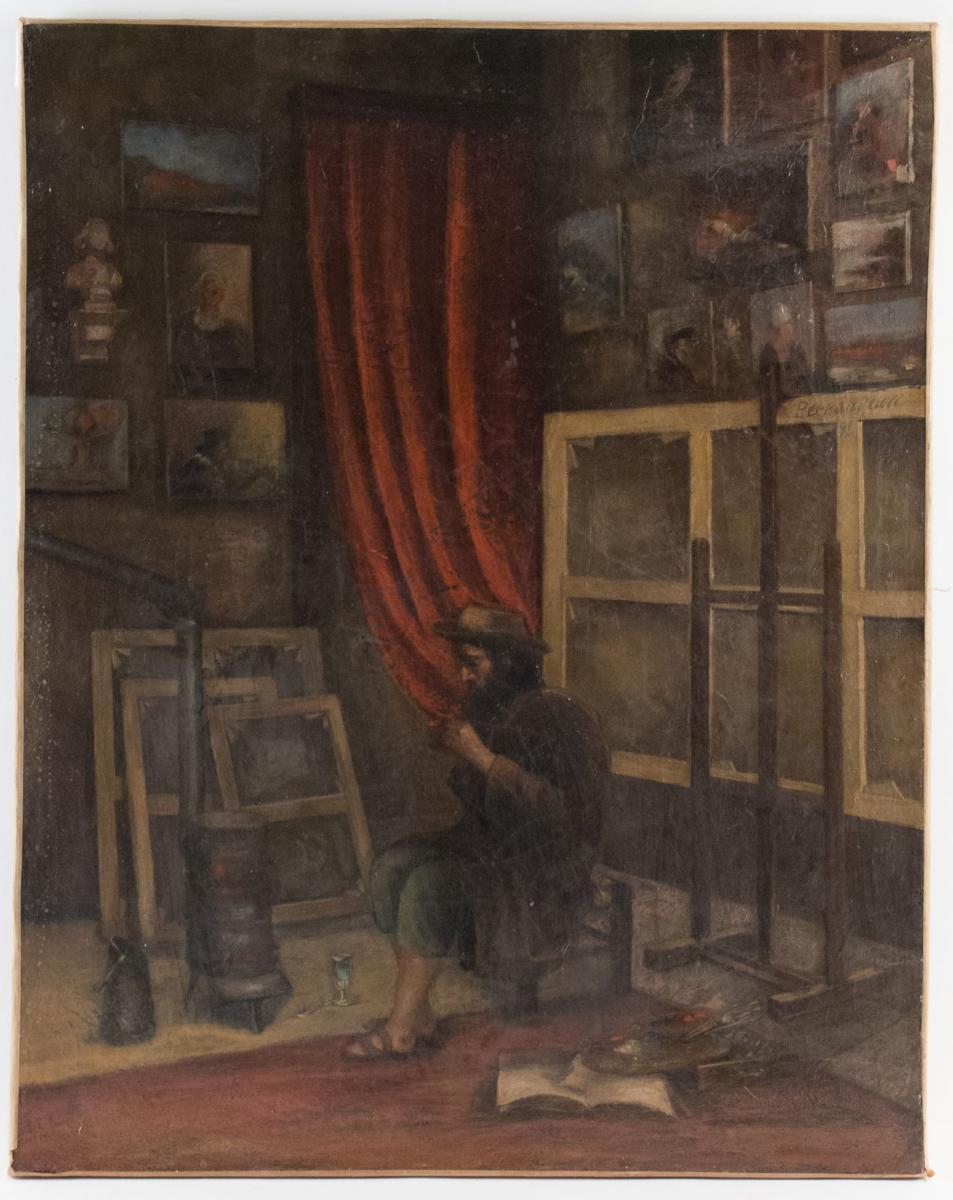 Charles Perrendeau (1865-1903) Huile sur toile. Atelier