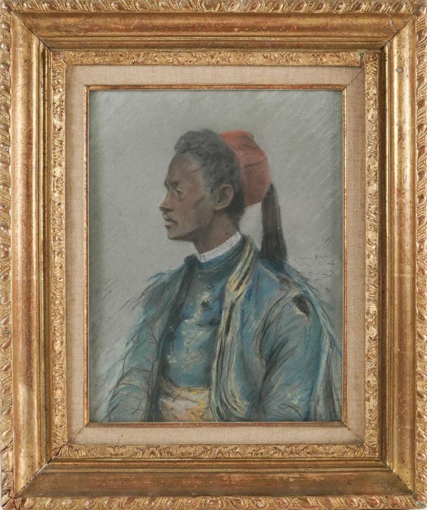 Pastel orientaliste: Le zouave d'Henri Cain (1857-1937)