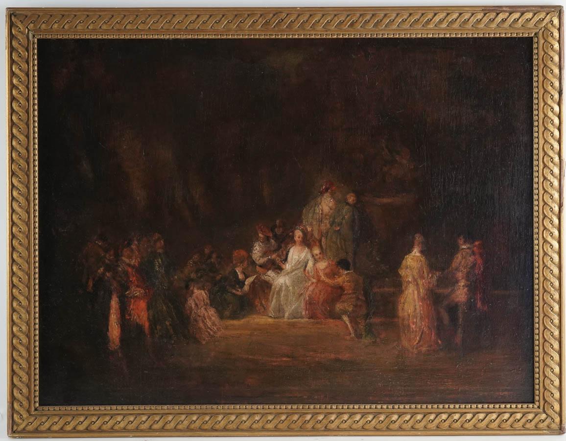 Copie du tableau de Watteau d'époque 19ème: Fêtes champêtre