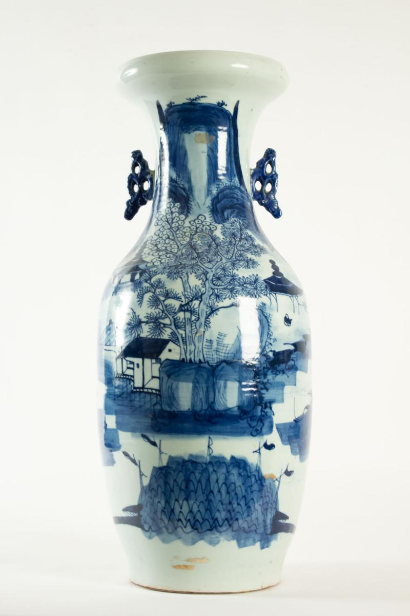 Chinese Vase In Faience 19th Large Format