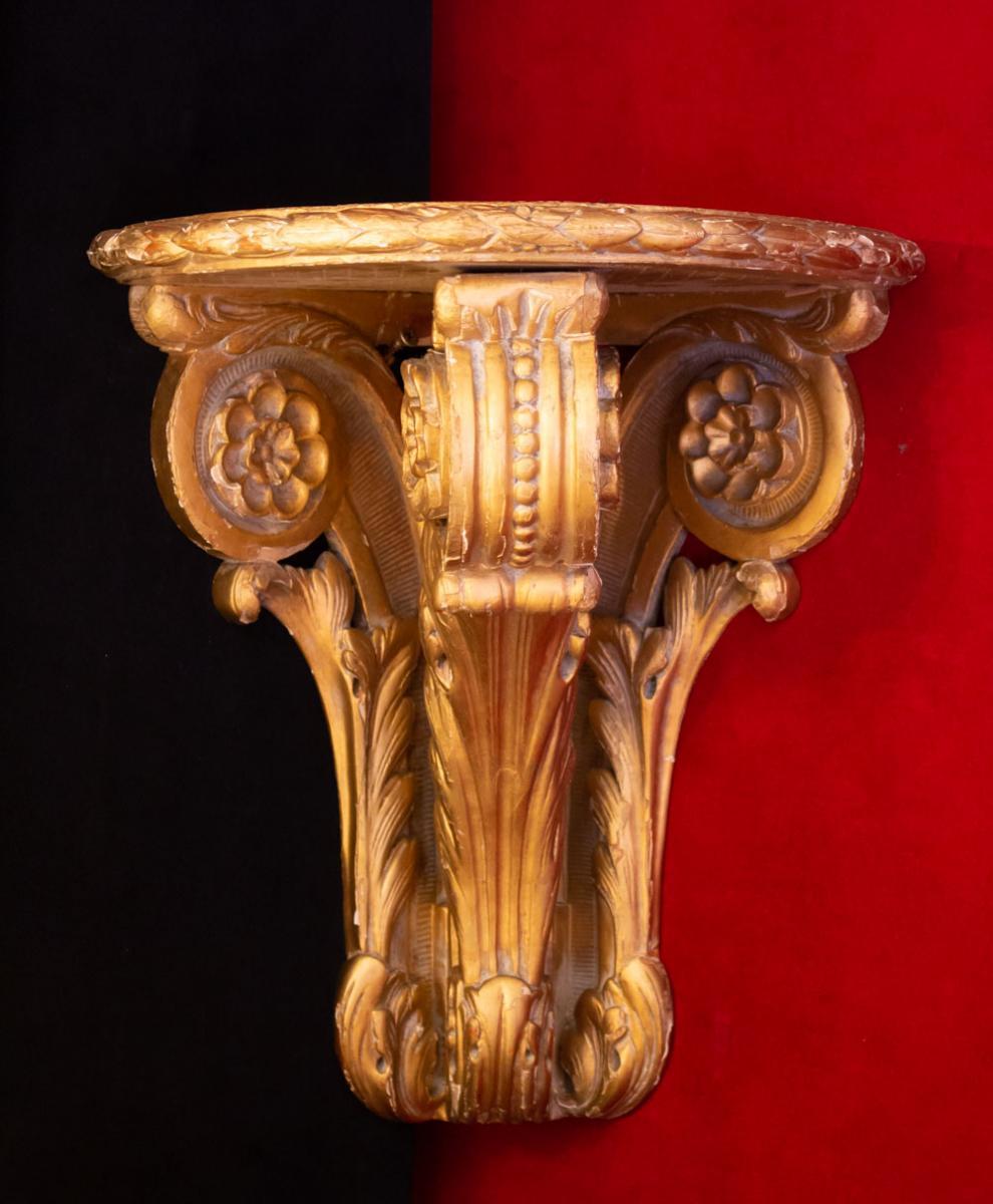 Paire de consoles d'applique d'angle en bois doré 19ème