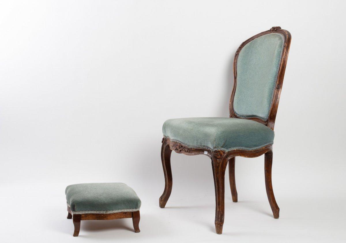 Chaise chauffeuse en velours bleu 19ème