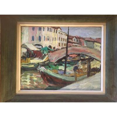 Vue De Venise Par Suzanne Dinkes ou Dinkespiler (1895-?)