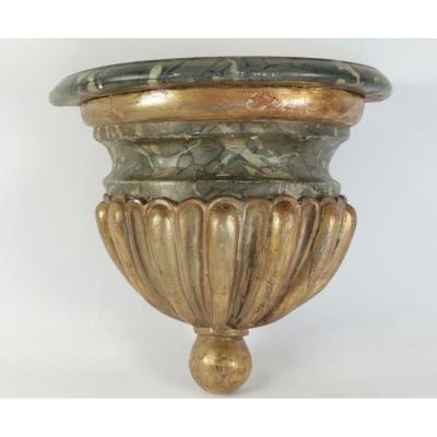 Console d'applique en bois doré polychrome d'époque 18ème