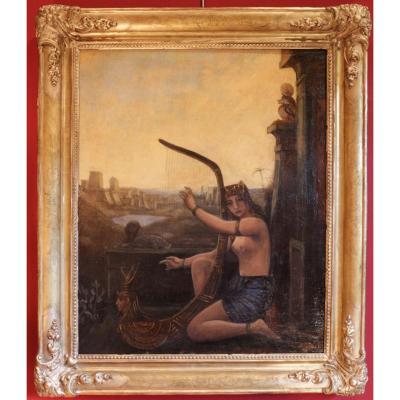 Egyptienne à la harpe par André.Meurice (?-1950)