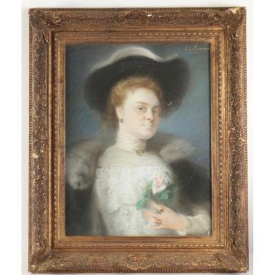 Pastel: Jeune femme à la rose par Scherrer ( 1855-1916 )