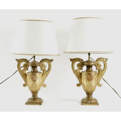 Paire de lampes d'église en bois doré, dorure d'origine début 18ème