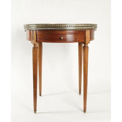 Table bouillotte en acajou blond et marbre rose