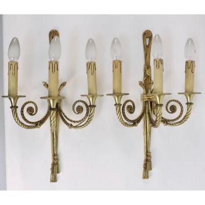 Appliques en bronze doré Louis XVI