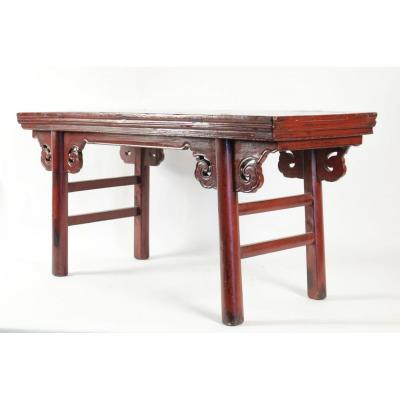 Chinese Bench In Lacquered Exotic Wood