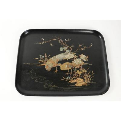 Boiled Cardboard Tray With 19th Century Bird Decoration