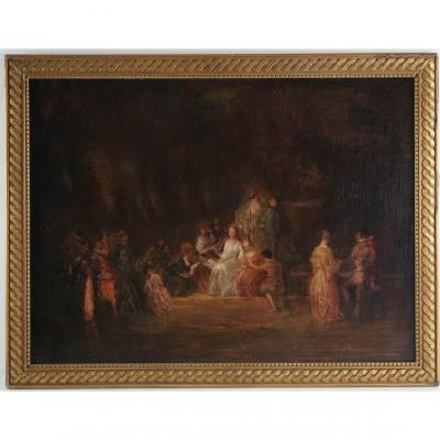 Copy Of The 19th Century Watteau Painting: Country Festivities