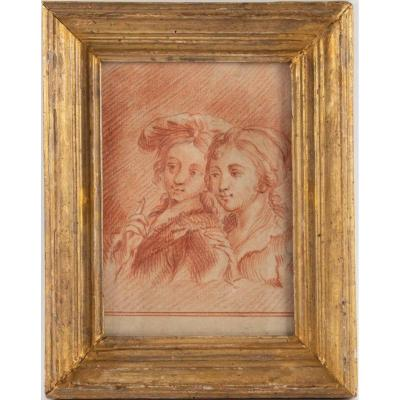 18th Century Period Blood Drawing: Young People. Period Gilt Wood Frame.