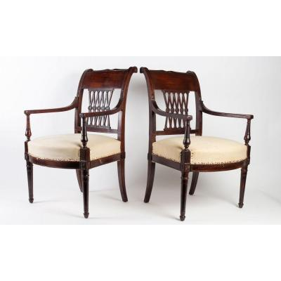 Pair Of Consulate Period Armchairs Attributed To Jacob Frères
