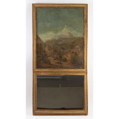 Trumeau d'époque Louis XVI, glace au mercure, cadre en bois doré