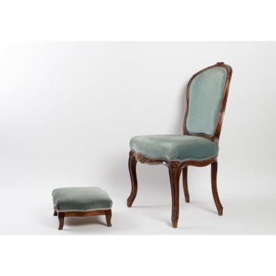 19th Century Blue Velvet Chair