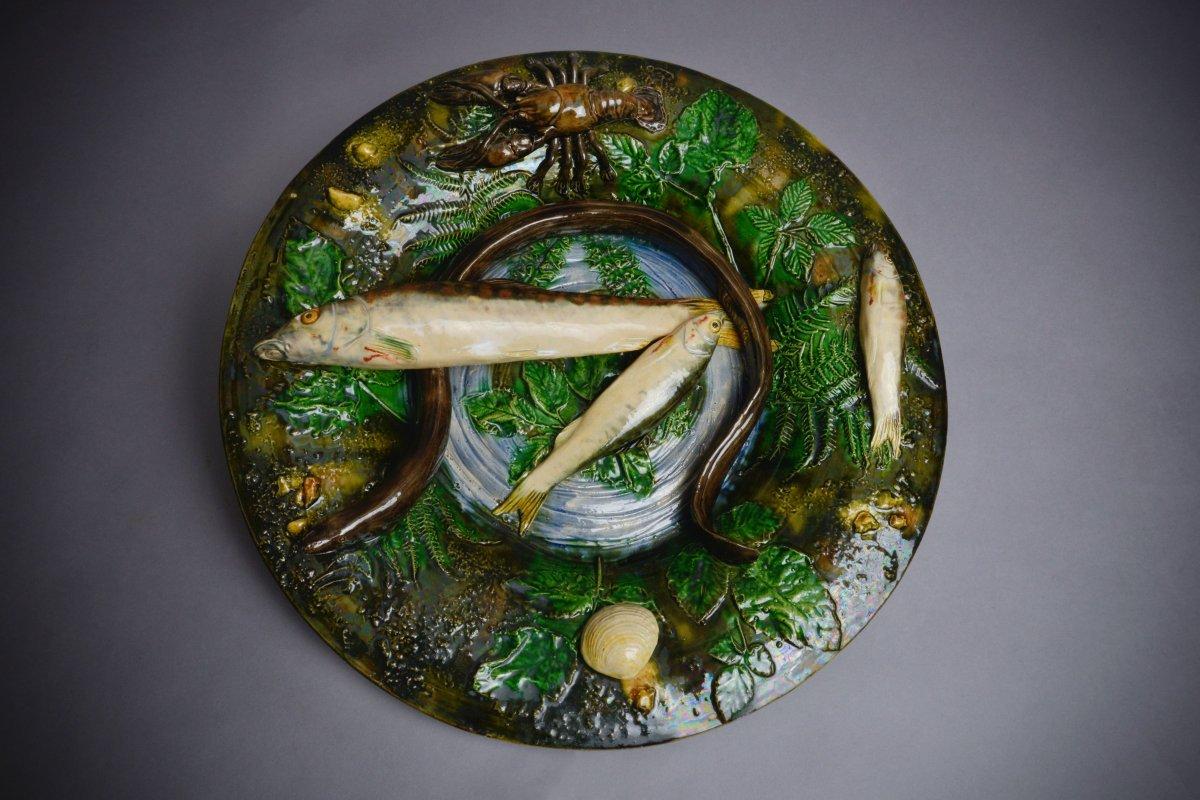 Alfred Renoleau, Plat Rond à l'Anguille - Céramique En Barbotine Suite Palissy