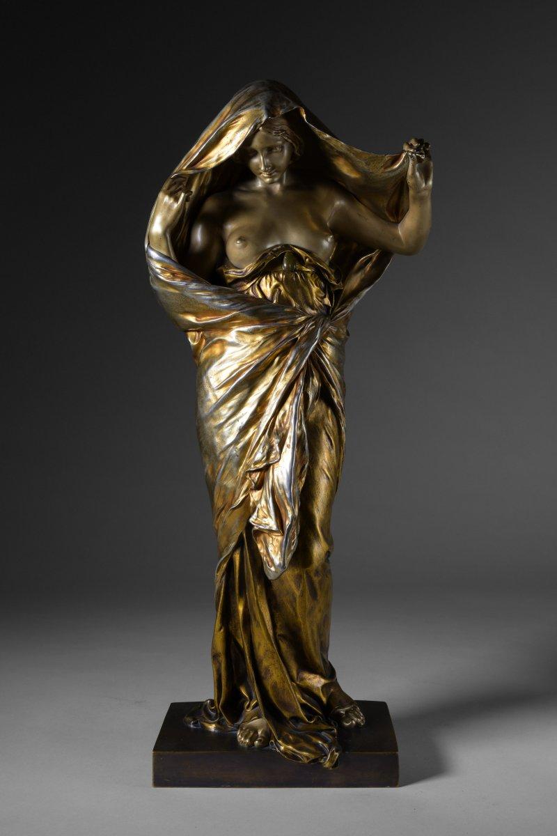 Louis-ernest Barrias, La Nature Se Dévoilant Devant La Science. Sculpture En Bronze Doré - 1899