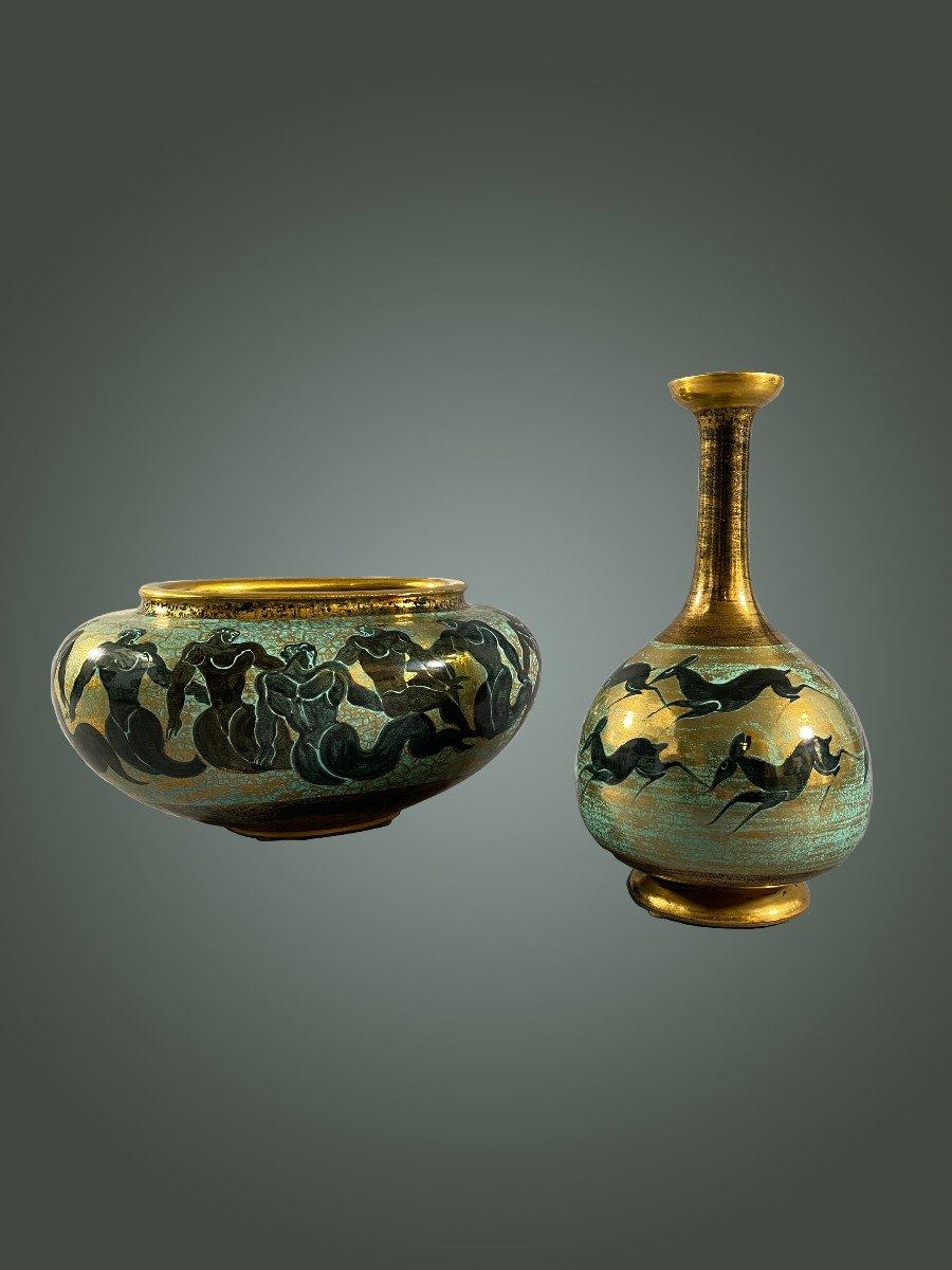 Manufacture De Sèvres - Jean Mayodon, Vase. Circa 1940/50. Art Déco. Céramique Réhauts Dorés-photo-3