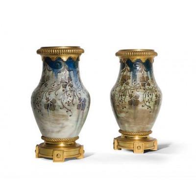 Auguste Delaherche, Paire De Vases Balustres - Céramique Et Bronze Doré - Signés