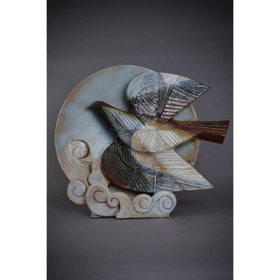 Jean Derval, Sculpture En Céramique Faisant Lampe, 1986.