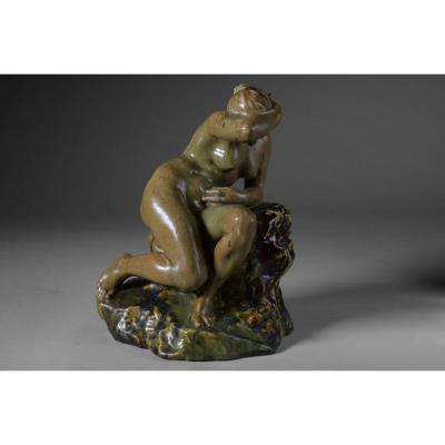 Pierre-adrien Dalpayrat - Naiad On A Rock, Only Known Copy, Signed - Art Nouveau.