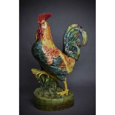 Grand Coq Bouquetière - dimensions exceptionnelles, Céramique En Barbotine Ca 1890.